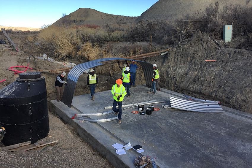 Installing the aluminum box culvert